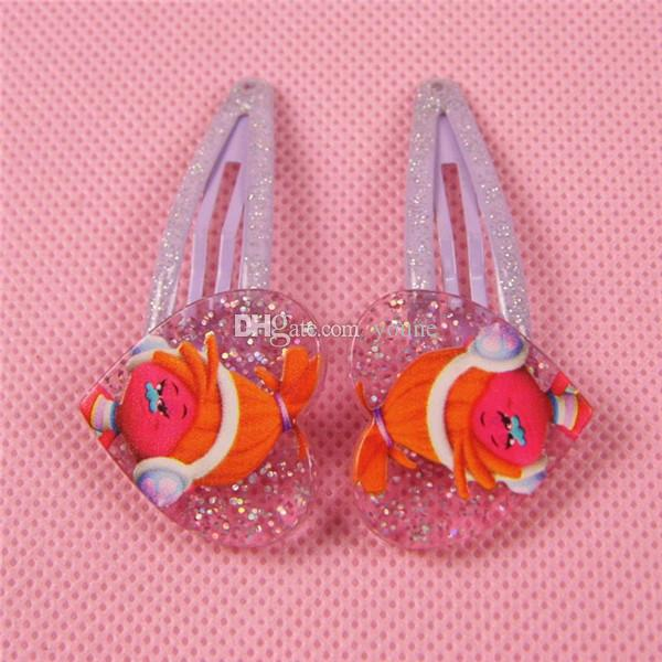 Hot sale! Popular Trolls Design Cartoon Hairpin Hairclip Headwear baby Girl Hair accessories KIDS Hair clip Christmas Gift Acrylic