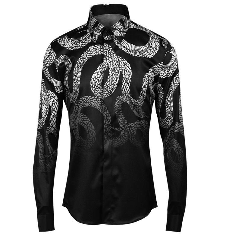 2017 Cool Snake Print Shirt Men Design Chemise Homme Casual Slim ...