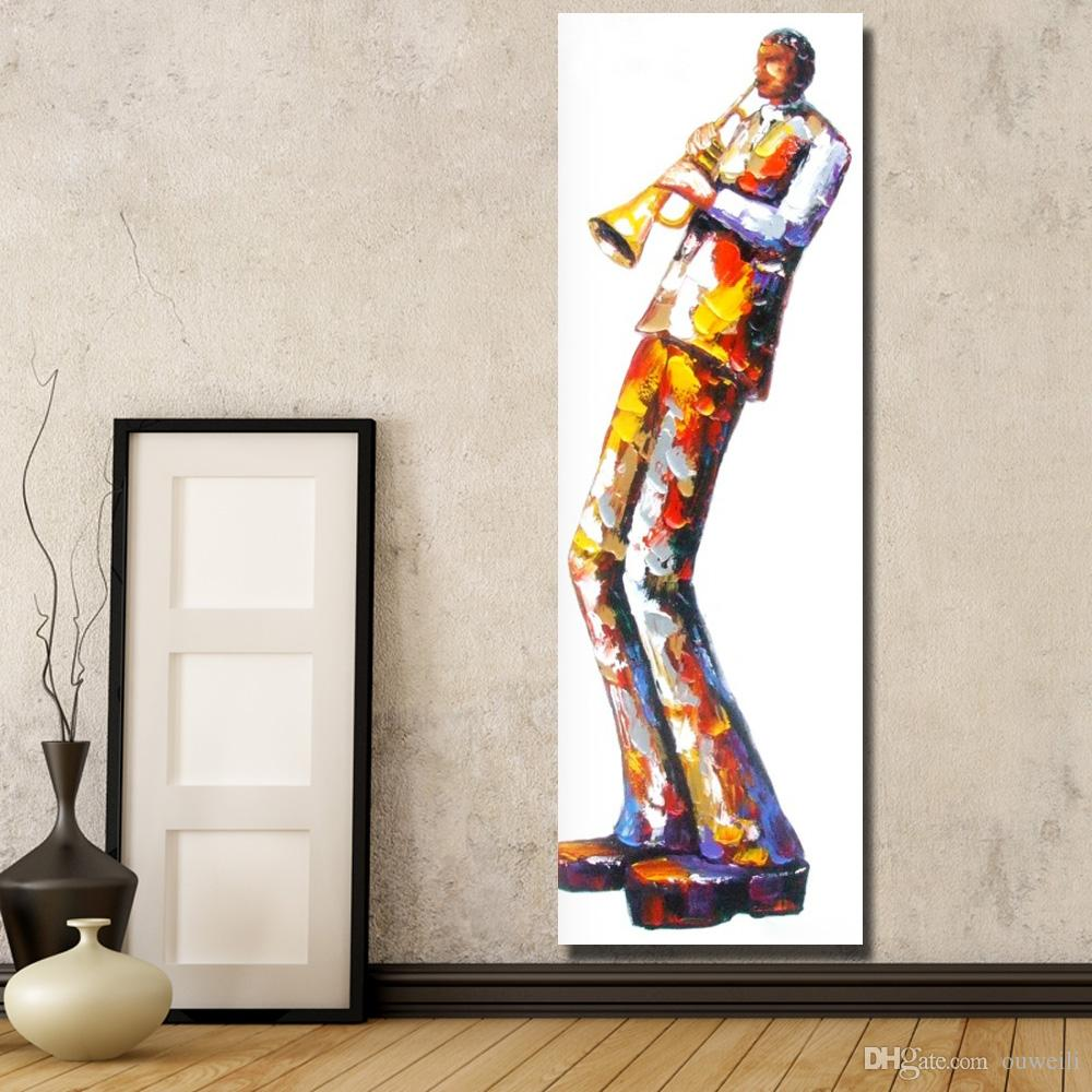 Hand drawing top quality cartoon figure play the music instruments oil painting hand painted promotional items for 2016