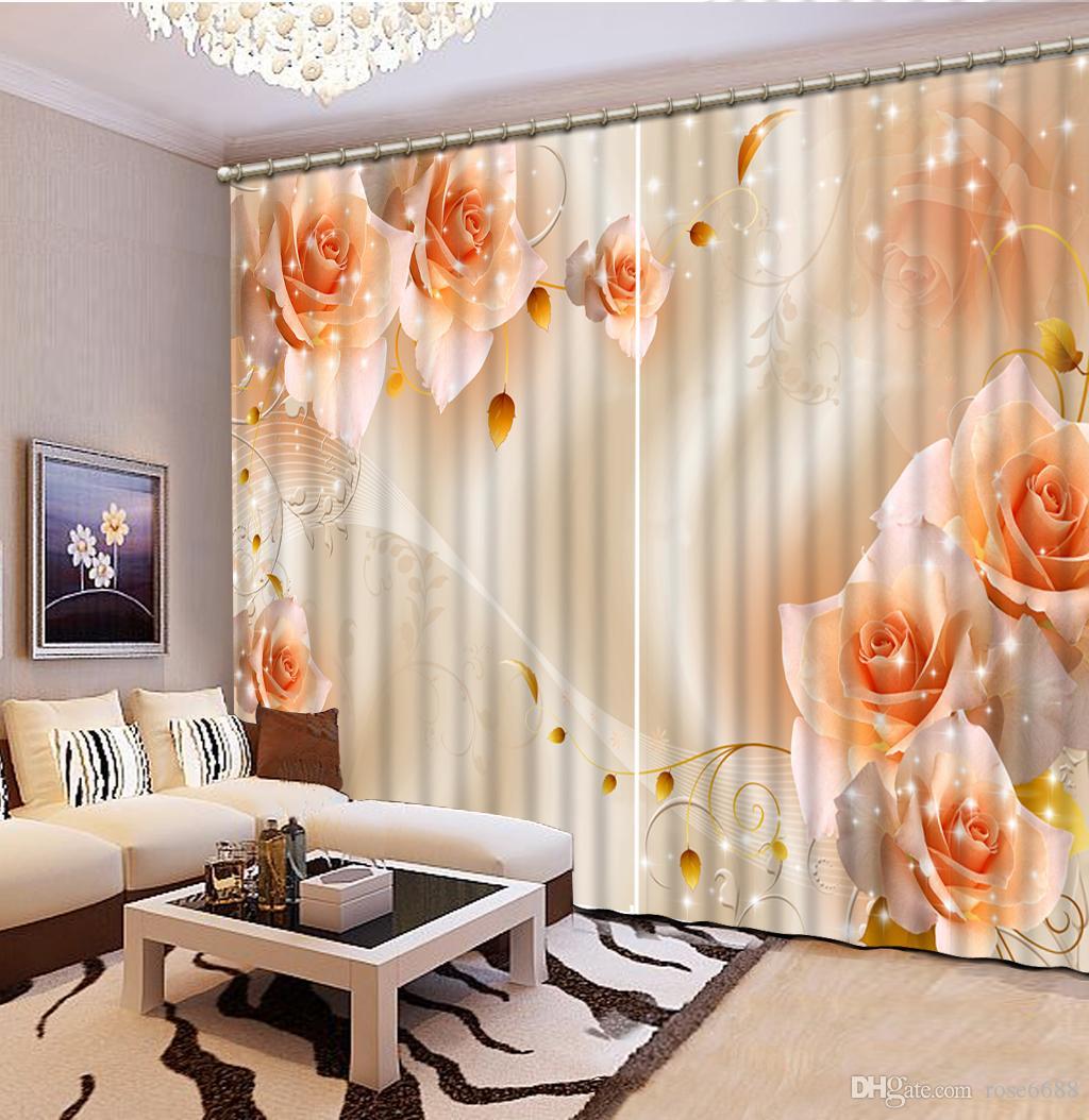 Compre Cortinas Para Sala De Estar Naranja Rosa Flor Cortina