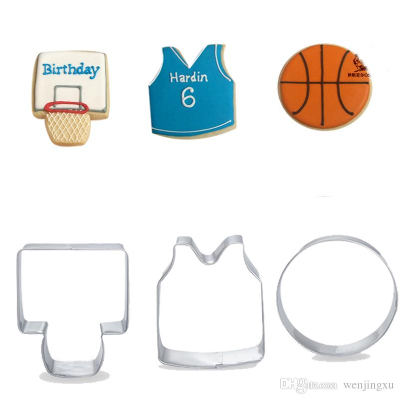 2c5be5c7675f 3pcs basketball basket jersey cookie cutter sets exercise onesite cake  embossing stamp fondant cutters cupcake toppers