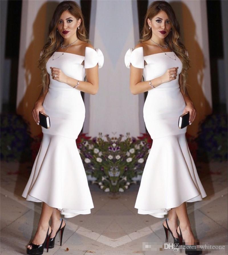 Mermaid Cocktail Dress: Exquisite Bow Cap Sleeves Little White Mermaid Cocktail