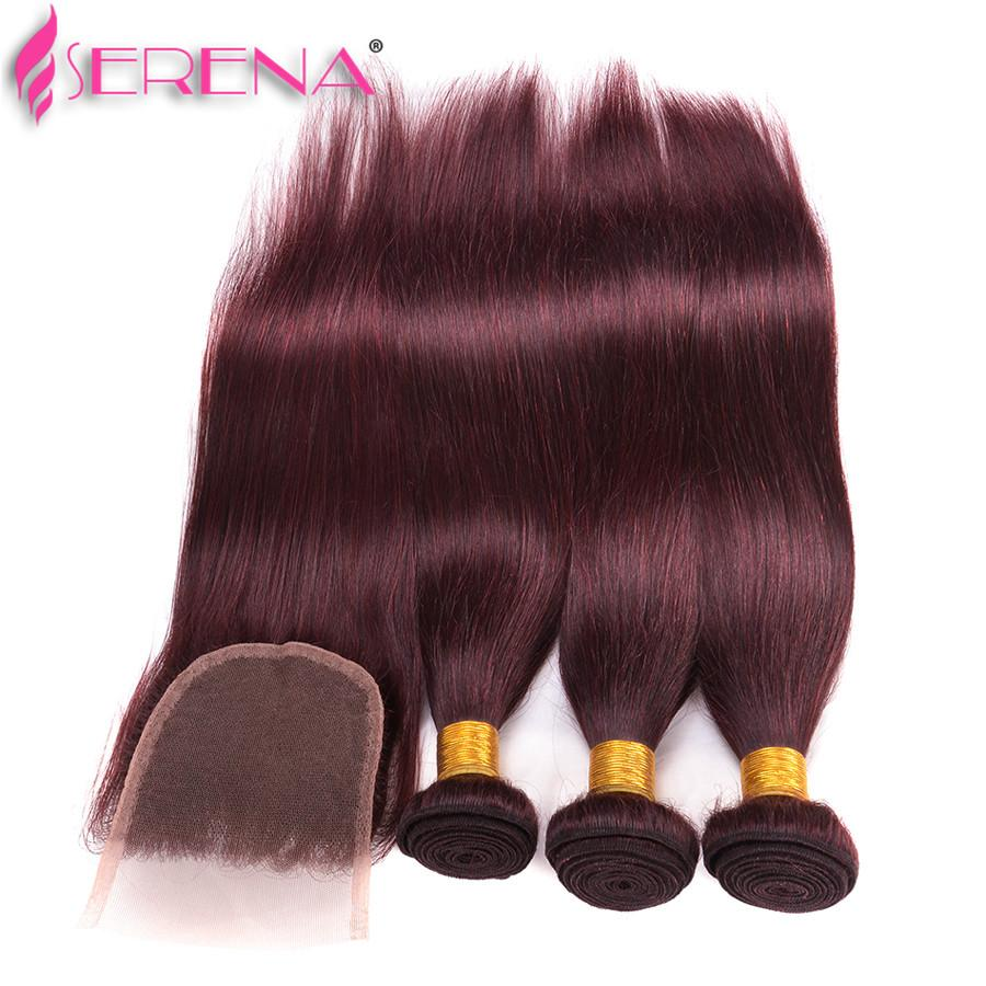 Hot Sale Unprocessed 99j Straight Brazilian Virgin Hair With Closure #99J Human Hair 3 Bundles With Lace Closure Red Hair