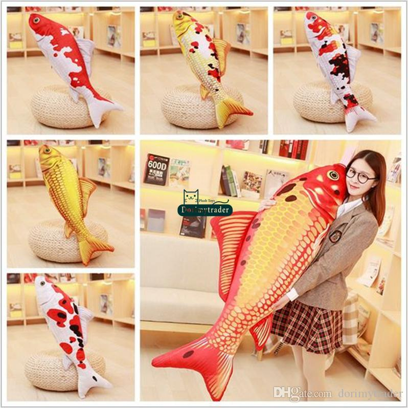 Dorimytrader 135cm Large Simulated Animal Koi Fish Plush Toy Stuffed Soft Fishes Animals Pillow Doll 53inches Gift Decoration DY61692