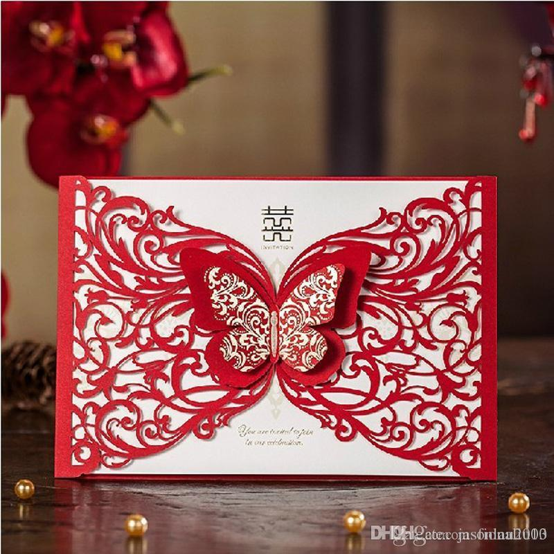 Double Butterfly Lace Wedding Invitations Red Chinese Marriage ...