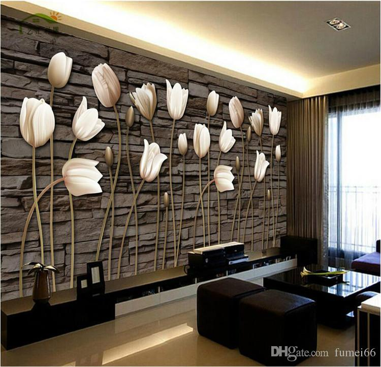 Large Fresco Hd 3d Living Room Tv Background Wallpaper Personalized Fashion Bedroom European Style Tulip Photo For Desktop