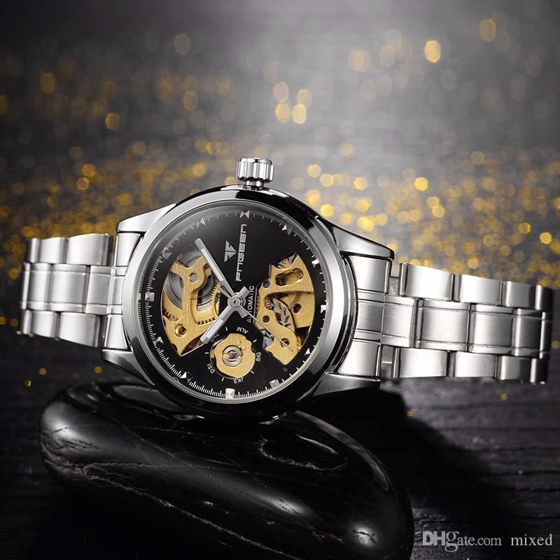 FNGEEN 8818 автоматический водонепроницаемый наручные часы дамы мода полые механические часы высокое качество женщины известный аналоговые часы старинные