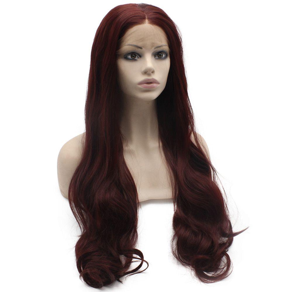 Long Wavy Dark Wine Red 99j Heat Friendly Synthetic Lace Front Wig