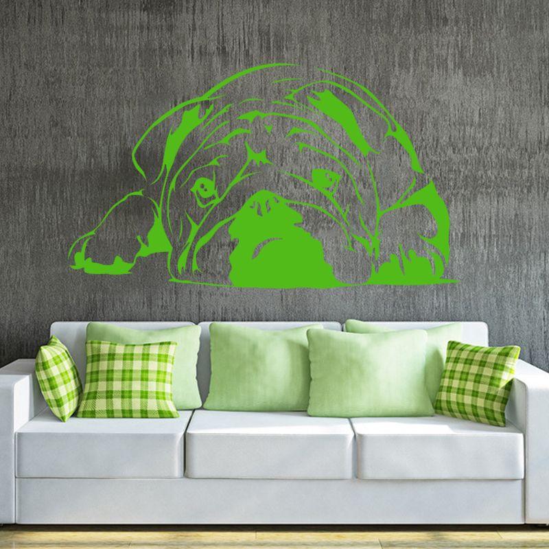 Hot Selling 2017 Lazy Bulldog Cute Dog Art Wall Vinyl Sticker For Home Decor Pet Puppy Wall Decal Mural Art Diy
