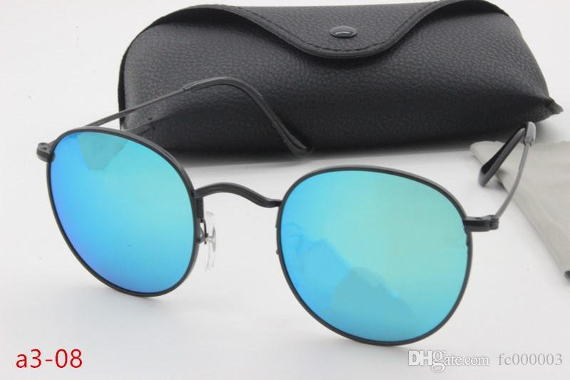 New retro bright high-quality designer sunglasses cool tide people round high-definition sunglasses metal frame glass lens glasses