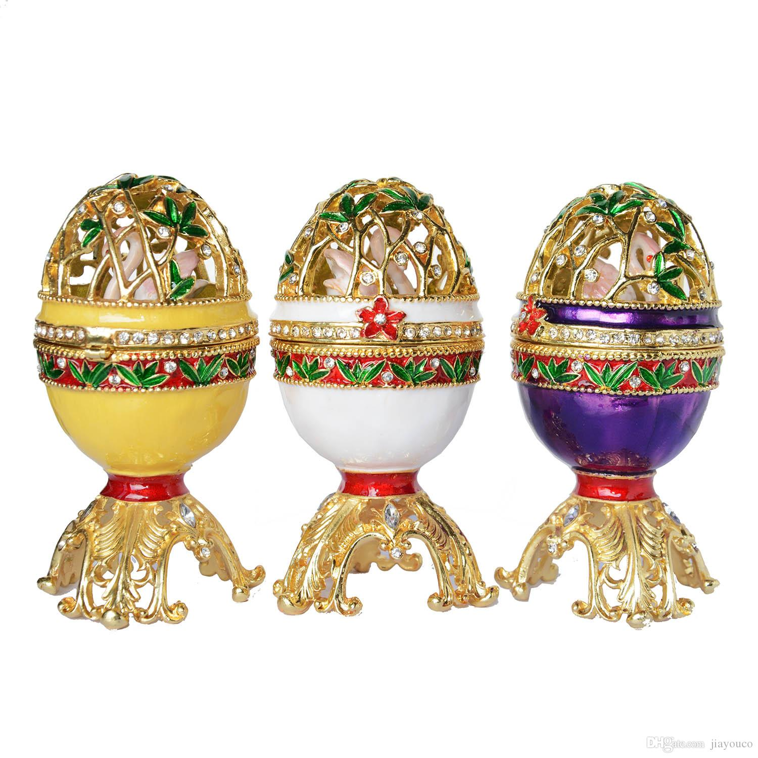 2018 Russian Craft Faberge Style Easter Egg W Swan Bejeweled Trinket