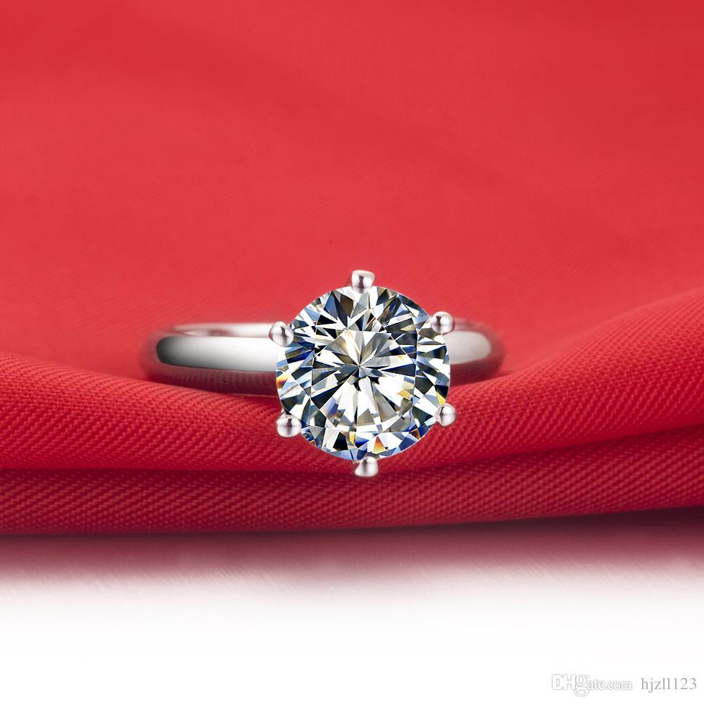 Toptan 1 ct kadınlar için klasik sentetik elmas yüzük katı gümüş PT950 damgalı Platin kaplama Alyans Ücretsiz Kargo