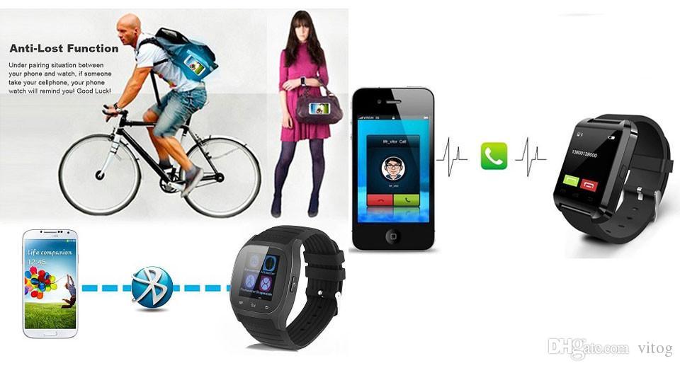 Bluetooth Smart Watch Sport M26 Smartwatch Sync Appels téléphoniques Anti-perdu pour iPhone et téléphones Android Smartphones Smart Electronics