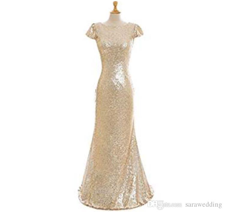 Sequins Mermaid Bridesmaid Dresses 2020 Short Sleeves Champagne Gold Long Beach Wedding Party Gowns Suknie Dla Druhny