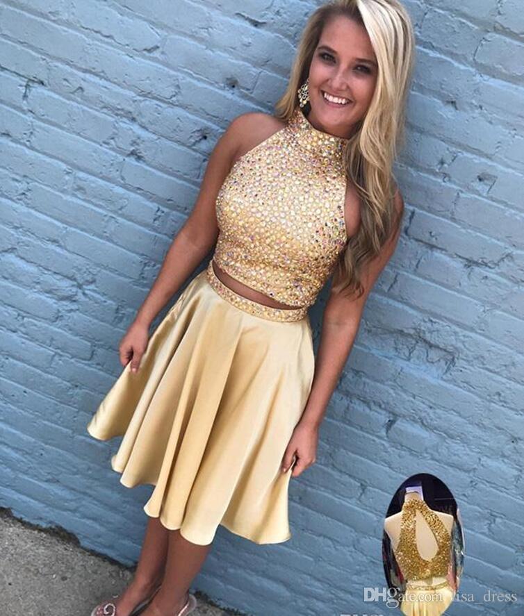 Высокая шея спинки Кристалл бисером две части Homecoming Dress 2017 золотые платья для выпускного вечера 8-го класса платье для подростков