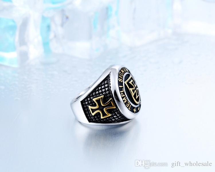 Wholesale New Arrival Cross Knights Templars Ring Men Stainless Steel Unique Jewelry Exquisite Men Biker Ring