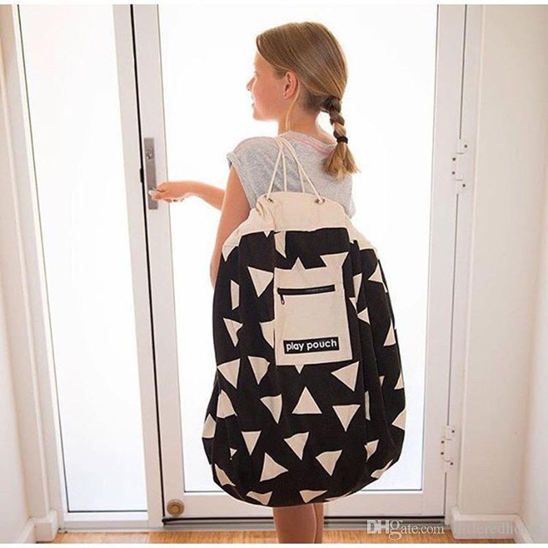Children Toys Storage Bags Portable Play Mat Folding Large Canvas Laundry Storage Bag Play Pouch Drawstring Round Carpet Rug Kids Room Decor