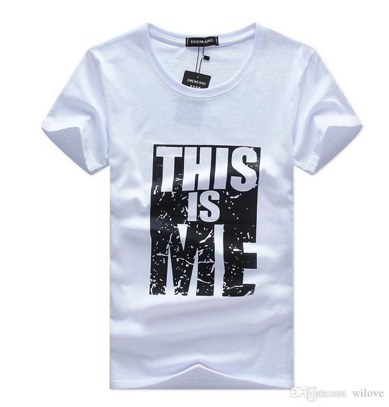 Imprimé T-shirts Coton T-shirt Hommes D'été Coton À Manches Courtes Top Lettre Imprimé T-shirts Plus La Taille De Mode T-Shirts Vêtements Pour Hommes Slim