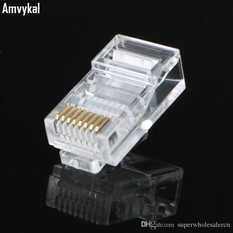 Amvykal RJ45 RJ-45 CAT6 CAT6E Modular Jack 8P8C Plug Network Ethernet Connector 8 Pins Lan Network Cable Heads