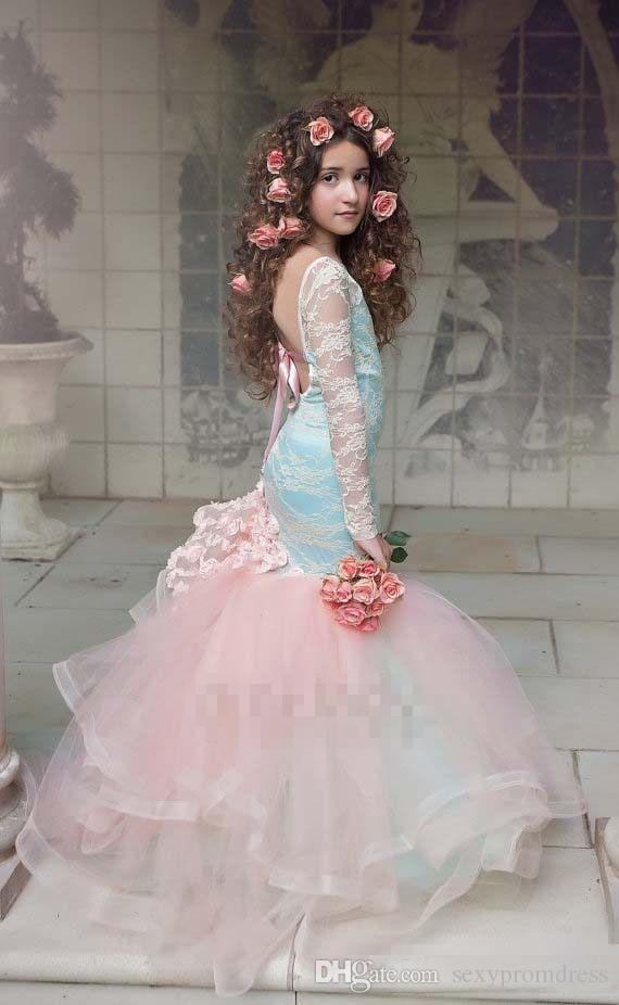 ゴージャスな青とピンクの女の子のページェントのガウン2017レースの長袖のロックレス人魚の花の女の子のドレスの結婚式の子供たちのパーティードレス