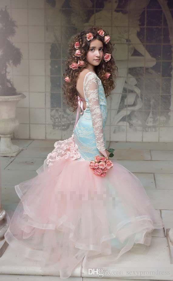 Wunderschöne Blaue Und Rosa Mädchen Pageant Kleider 2017 Spitze Mit Langen Ärmeln Backless Meerjungfrau Blumenmädchenkleider Für Hochzeit Kinder Party Kleider