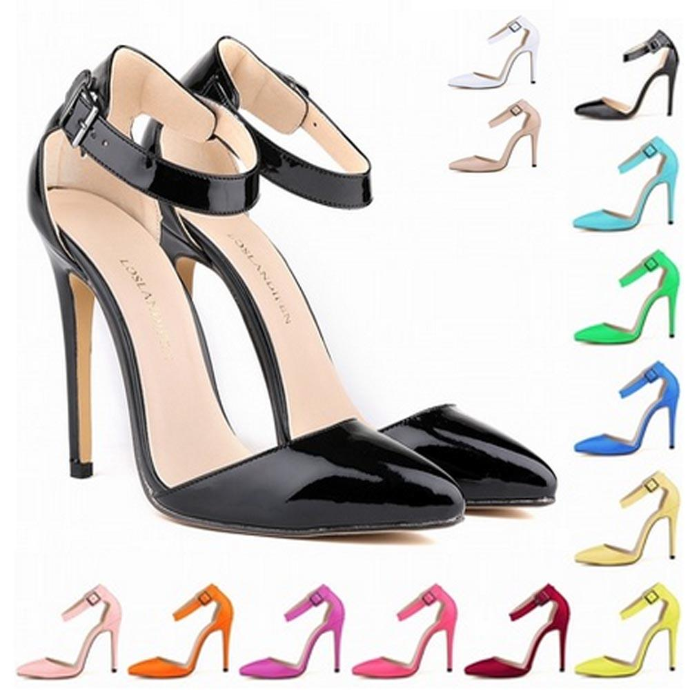 Zapatos Mujer Fashion Womens Pointed Toe Patent High Heels Sexy Ankle Strap  Sandals Pumps Ladies Party Shoes Size US 4 11 D0081 Mens Leather Boots Mens  ... 30d3e7234be2