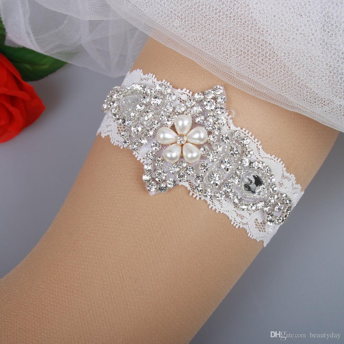 Bridal Strumpfbänder Lace Strass Perlen Perlen Vintage Prom Heimkehr Hochzeit Strumpfband Set Braut Strumpfband Set Plus Size