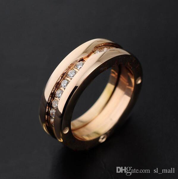 Anillos de diamantes de imitación de una sola fila, oro amarillo / oro rosa / colores de metal plateado titanio de acero inoxidable 316L mujeres / hombres de la boda / joyería de compromiso