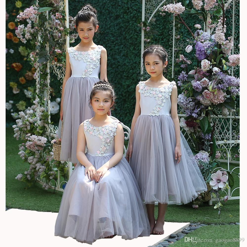 2019 Flower Girl Dresses Scoop Neck Tea Length with Hand Made Flower for Weddings Party Dress For Teenager Girls Kids Clothing