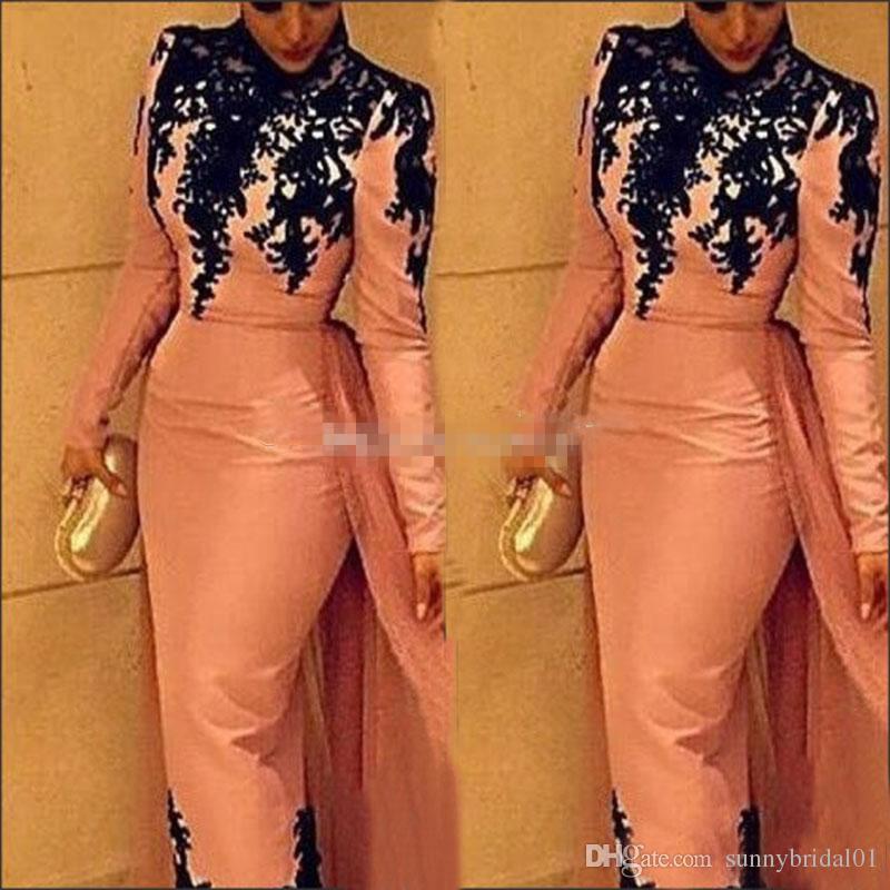 Rosa Satin Überrock Roter Teppich Celebrity Kleider 2017 Arabisch Formale Abendkleider Party Long Sleeves Pageant Kleider Günstige Prom Kleider
