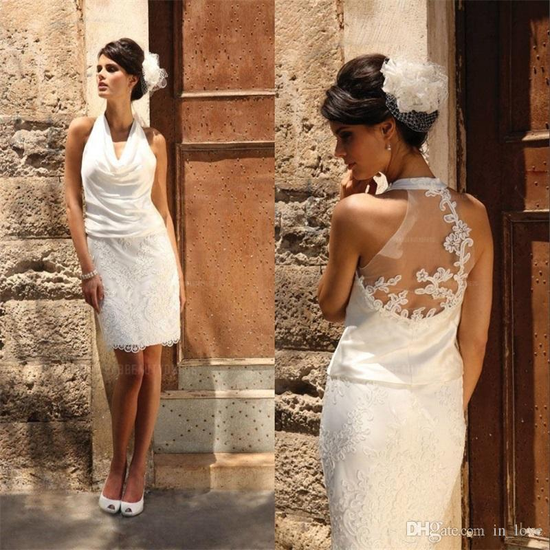 Short Sheath Wedding Dresses Halter Neck See Through Back Chiffon Lace Knee Length Bridal Gowns Vestido