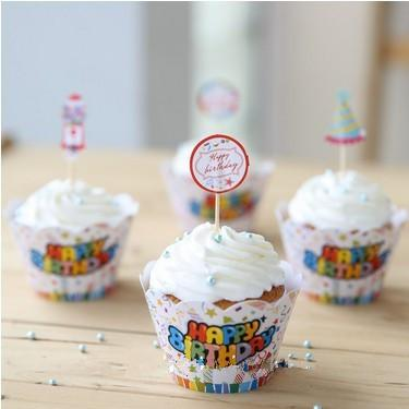 BIRTHDAY PARTY Cupcake Picks Toppers Cake Decoration bulk 24pcs/lot Muffin Cupcake Liners Paper Cases Cupcake Wrappers