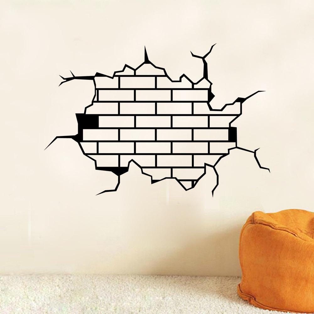 9304 3D Breaking Wall Stickers Mural for Sport Room Borken Wall Brick Wall Decals Free Shipping