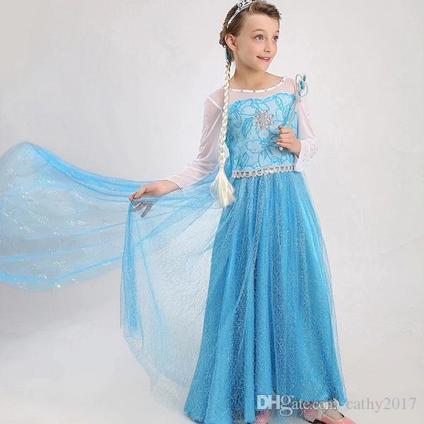 Großhandel 2016 Sommer Kinder Kleider Für Mädchen Elsa Kleid ...