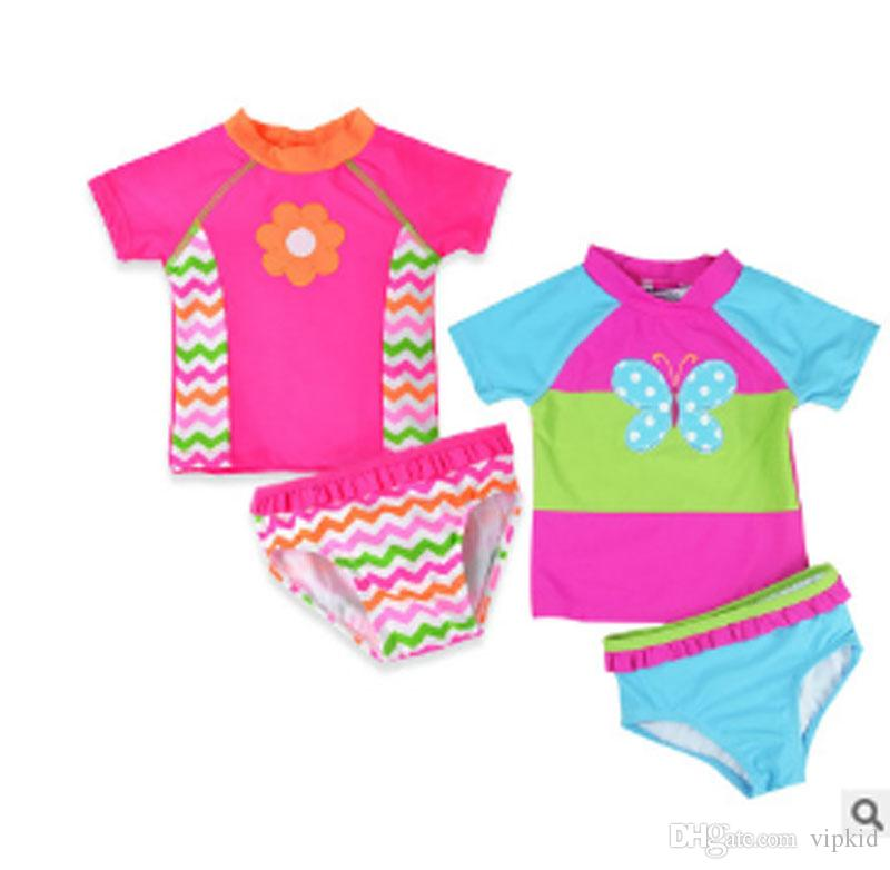 Baby girls butterfly embroidery swimswear kids swimsuit children swim wear baby bathing Two Pieces suit for baby girls X