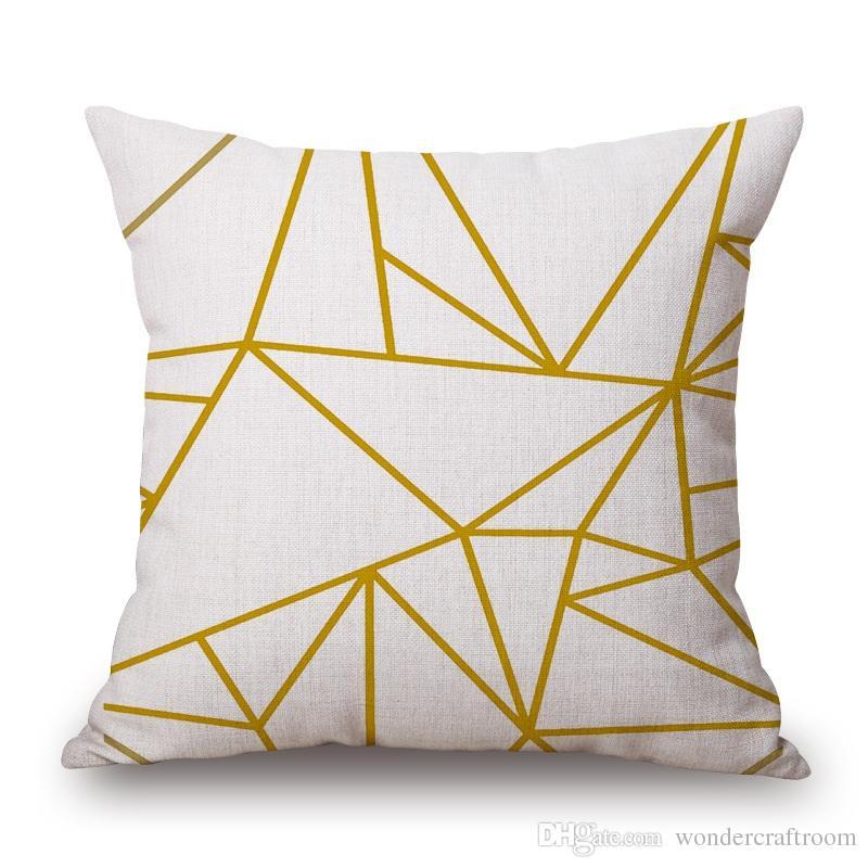 Motif géométrique Triangles Stripe Plaids Tapis Coussin Couvre Les Montagnes Bear Love Housse de Coussin Canapé Décoratif Lin Taie d'oreiller En Coton