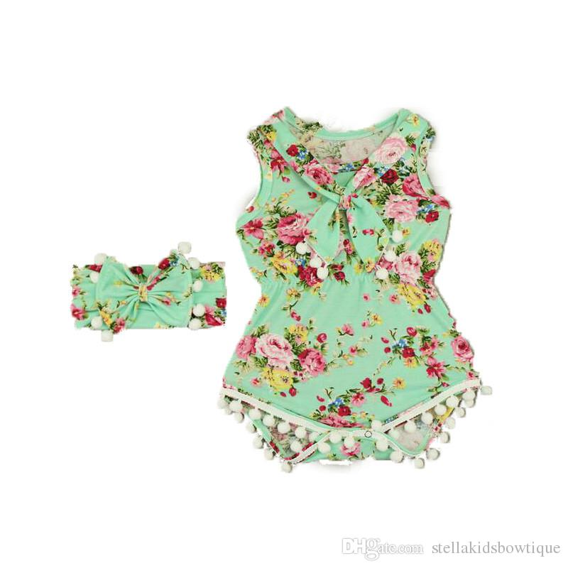 0e253009425e 2019 Floral Baby Girl Clothes Summer Baby Bodysuit Pom Floral Girls  Jumpsuit Bow Headband Set Rustic Baby Girls Outfit Romper From  Stellakidsbowtique