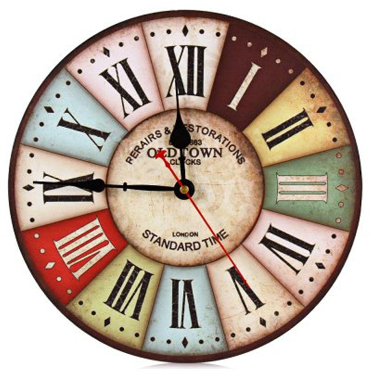 Compre Reloj De Pared Sin Marco Números Romanos Retro Madera ...