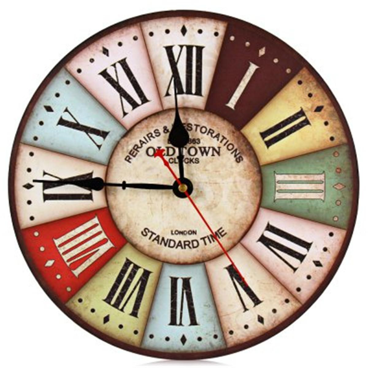 Wall Clock Rimless Roman Numerals Retro Wood Home Decor Chic