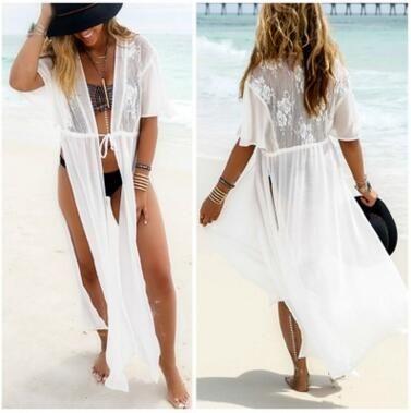 65976adbfbaf6 2019 Summer Bikini Beach Cover Ups Women Sexy Chiffon Lace Sunscreen Long  Cardigan Holiday Seaside Crochet Blouses Dress Beachwear Swimwear Shirt  From ...