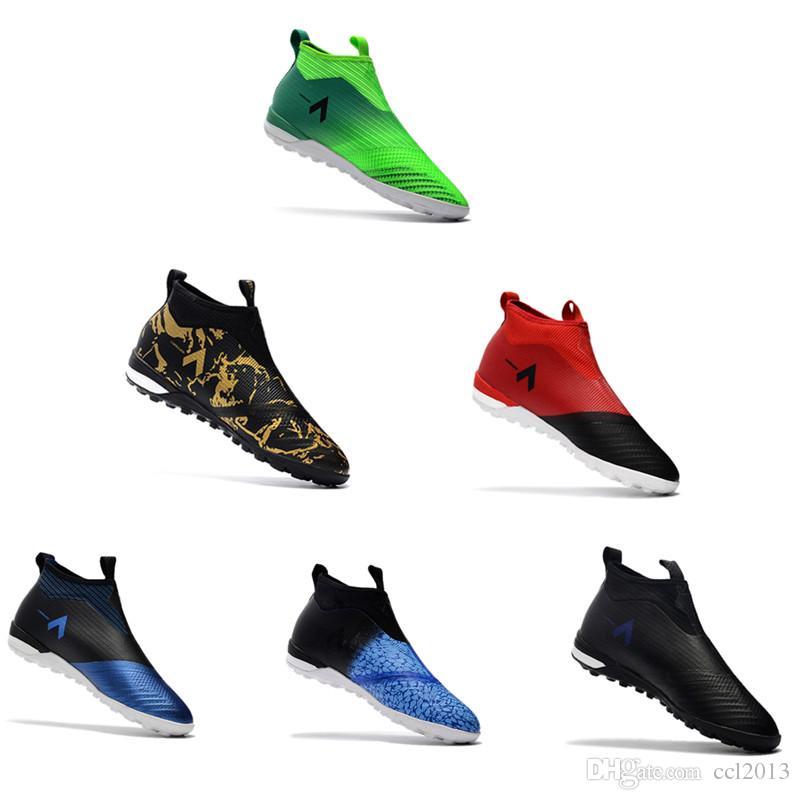 2017 original ACE Tango 17 Purecontrol IN zapatos de fútbol interior tobillo alto as botas de fútbol para hombre césped zapatos de fútbol sin cordones