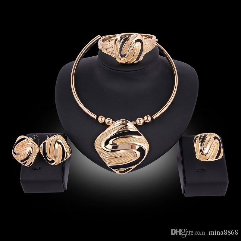 Europe & America Hot Exaggerated Square S Shape 18K Gold Plated Torque Necklace Earrings Bracelet Ring Jewelry Set