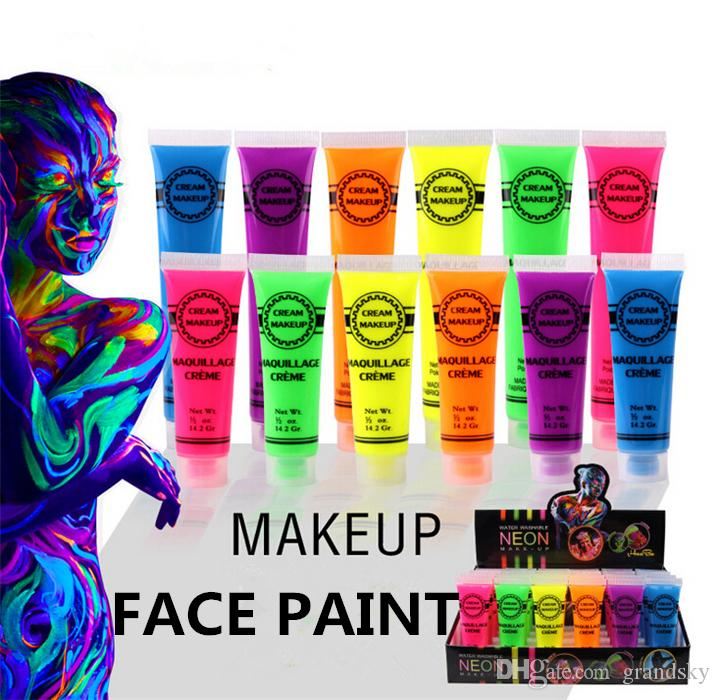 Neon UV Bright Face & Body Paint Fluorescent Rave Festival Painting 13ml Halloween professional painting Beauty Makeup