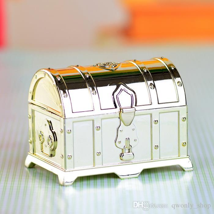 Retro Treasure Chest Favor Box Fashion Candy Boxes Gold Silver Clear Gift Boxes For Birthday Wedding Party Guest