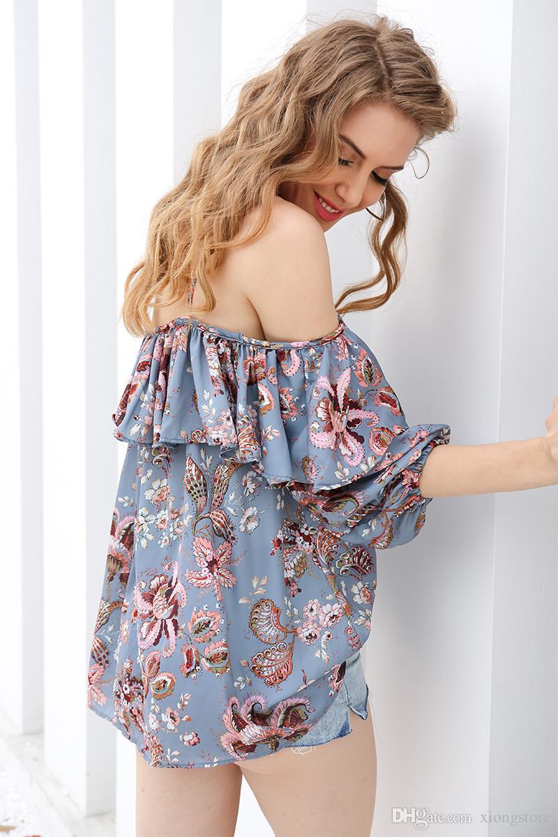 nuovo arrivo 2019 Camicia in chiffon stampa Strap Donna top Elastico off spalla ruffle camicetta femminile Sexy fiore chemise femme blusas