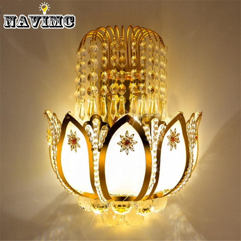 Online Cheap Gold Crystal Led Wall Sconces L&s For Bedroom Living Room Bedside Bathroom Closet Night Light Modern Luxury Wall Light By Dh996wangzhenhao ... & Online Cheap Gold Crystal Led Wall Sconces Lamps For Bedroom Living ...