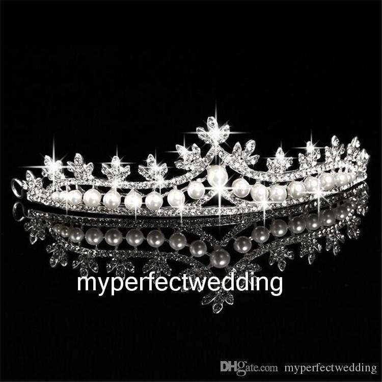 High Quality Classic Pearl Crown Hair Accessories Bridal Crowns Tiaras Head Jewelry Rhinestone Bridal Wedding Cheap Tiara Headband Noiva Hot