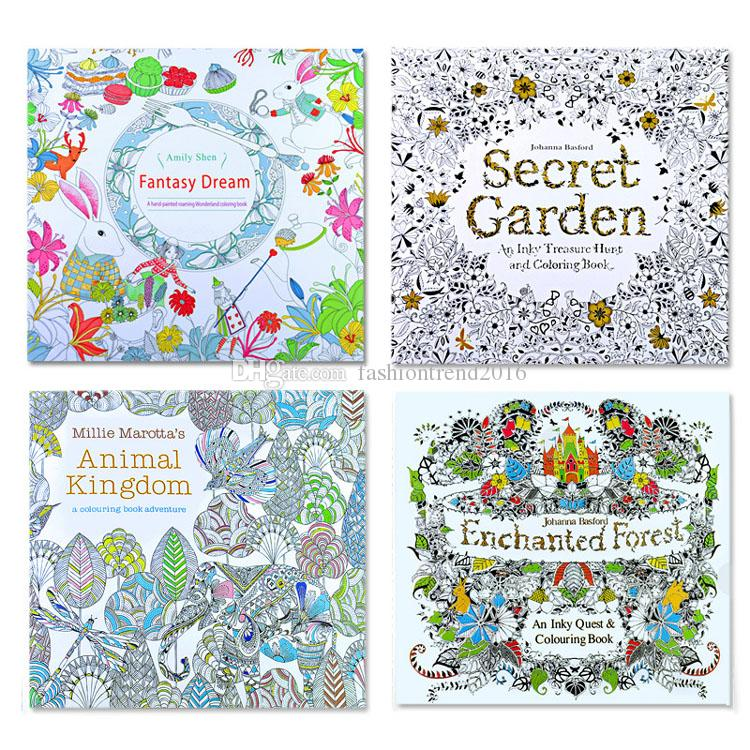 24 Pages Painting Drawing Book Adult Children Relax Graffiti Coloring Books Secret Garden Animal Kingdom Fantasy Drea Enchanted Forest Christmas