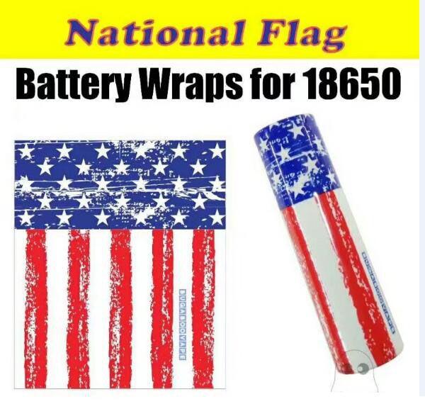 18650 Battery Wrap Paper Flag Skull Style Rechargeable Batteries Shrink Sticker Wrapper for LG HG2 Samsung 25R 30Q Sony VTC6 VTC5