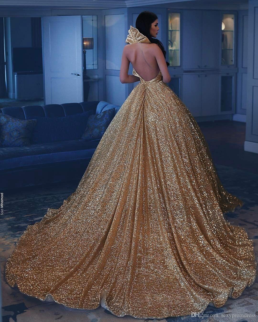 GoldSequined Shinning Abschlussball-Kleider 2k17-2018 reizvolle tiefe V-Ausschnitt Backless Abendkleider Gericht Zug Cocktailparty Vestidos nach Maß